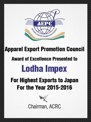 Award of Excellence for Highest Exports to Japan 15-16
