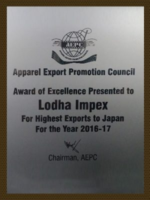 Award of Excellence for Highest Exports to Japan 16-17