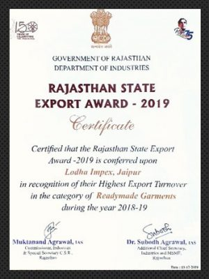 State Award for Exports for Highest Export Turnover